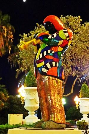 Statue of Miles Davis by Niki de Saint Phalle in front of the Negresco hotel in Nice