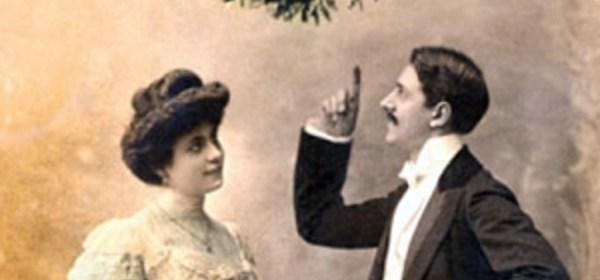 Couple under mistletoe