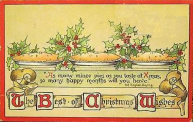 Christmas mince pies vintage postcard 1913
