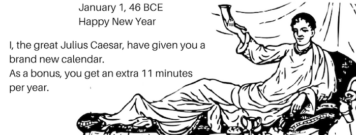 Julius Caesar calendar new year 700