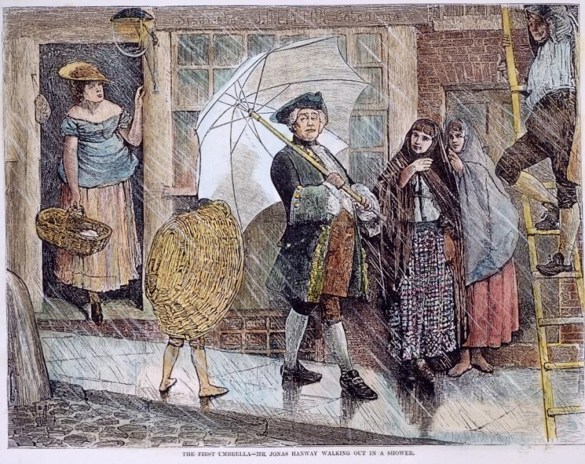 In an 1871 engraving Jonas Hanway carries an umbrella while others stare at him