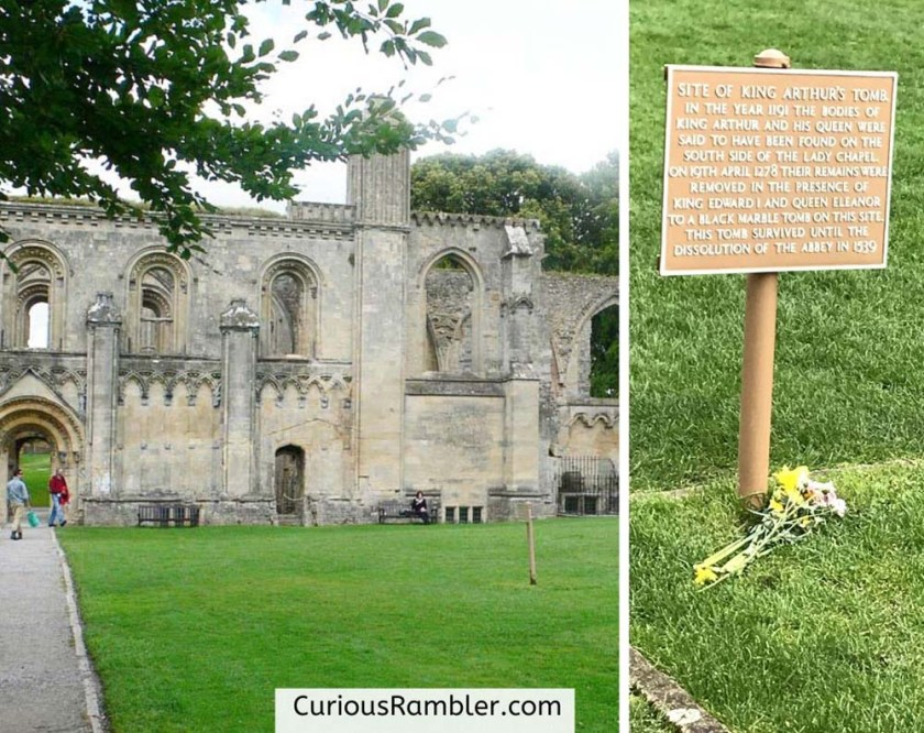 Picture of abbey ruins and the sign marking the site of King Arthur's tomb.