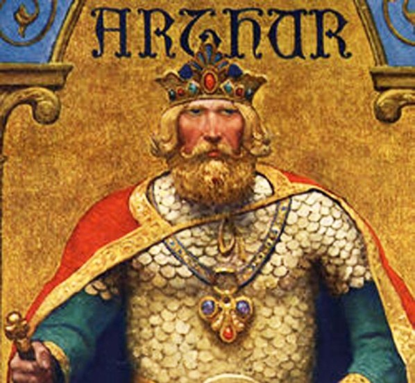 Image of King Arthur on his kingly attire and crown.