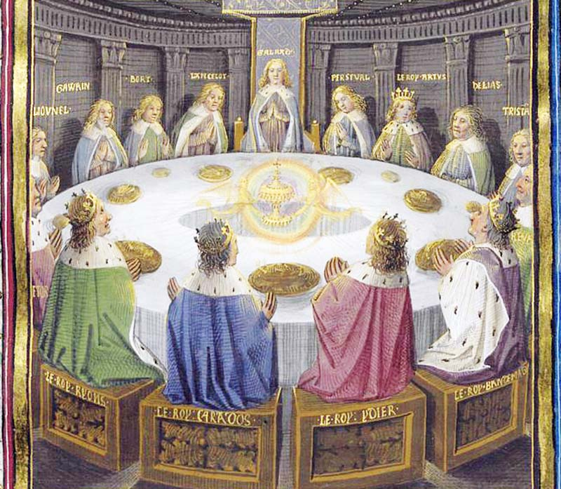 King Arthur and the Knights of the Roundtable are having a meeting when they see a vision of the Holy Grail in the center of the table.