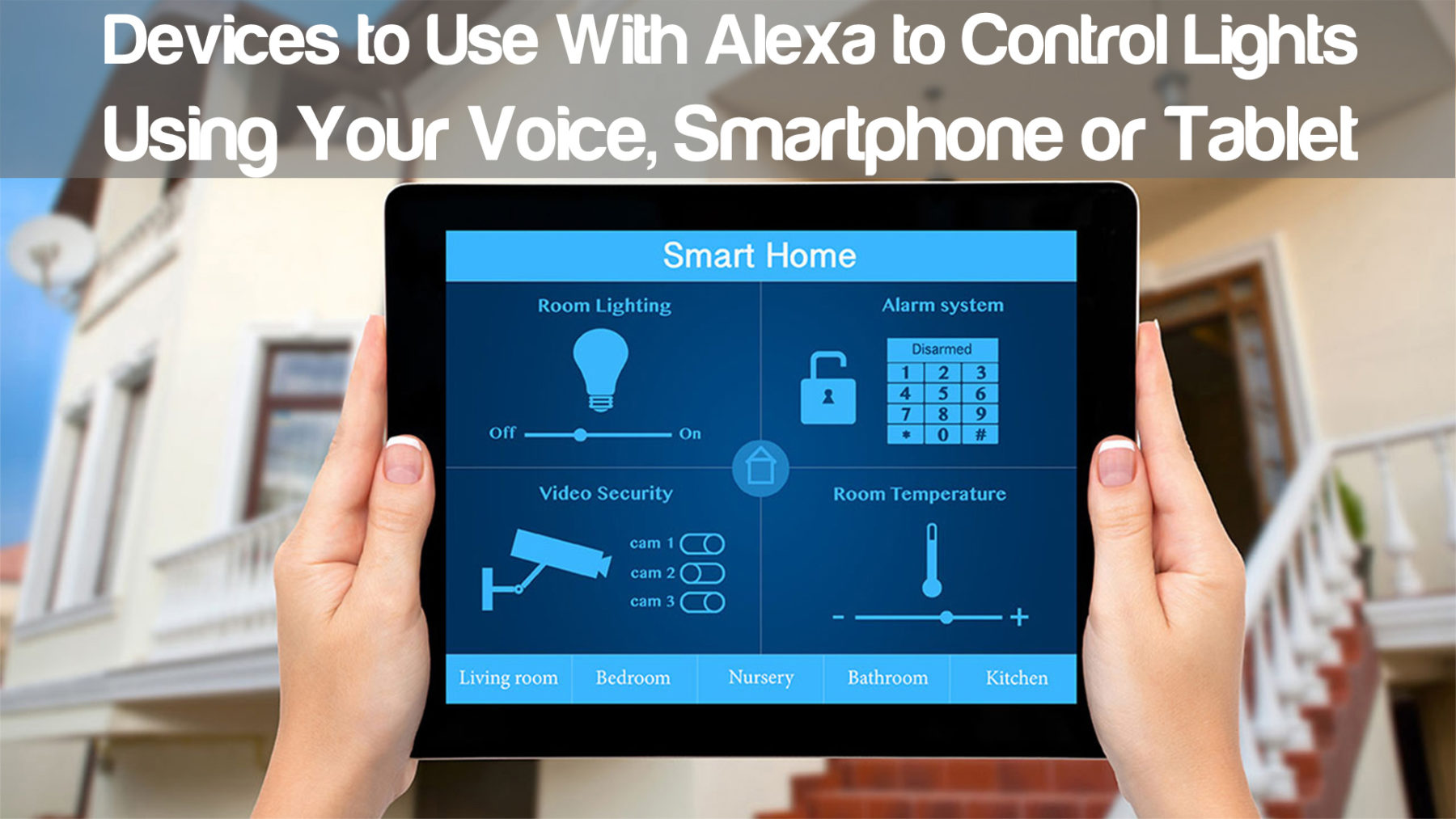devices use alexa control lights using voice smartphone tablet. Black Bedroom Furniture Sets. Home Design Ideas