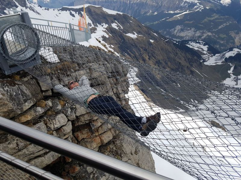 Mesh viewpoint high above the alps