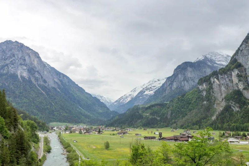 View of Swiss Alps with river from near Aare