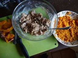 Saturday 27-02-16. Sweet potato biscuits in progress.