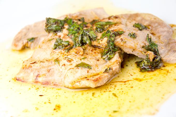 Recept Kalfsschnitzel met basilicumjus