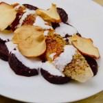 Recept Vis met geroosterde bietjes met appelchips en fetacreme