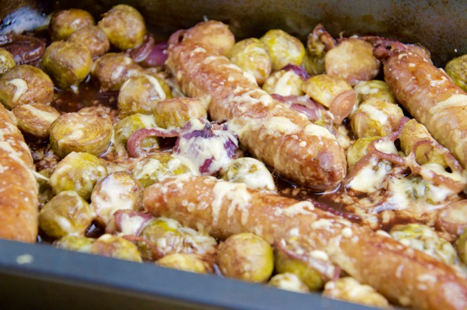 Recept Worst met spruitjes uit de oven