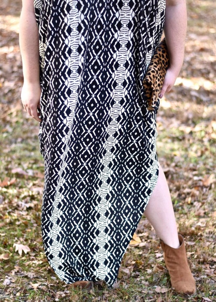 SWAK Designs is a size inclusive brand that specializes in comfy chic dresses. Their fall designs feature colorful floral patterns and fun tribal print