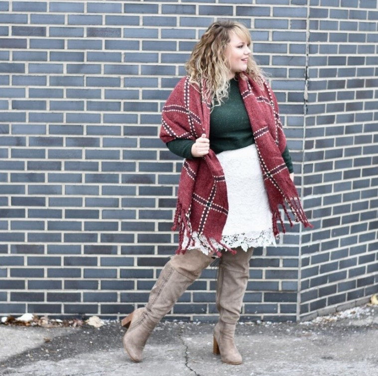 Sharing how to style your white Society+ Anne Lace Skirt for the Holiday season! Also sharing  a some outfit and over the knee boot links!