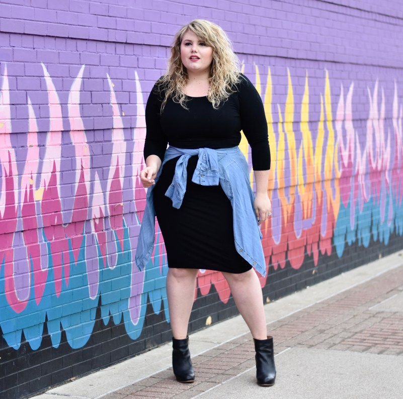 Accessorizing a Little Black Dress. Sharing how I styled one of my all time favorite LBD's with a chambray around the waist and some leather booties.
