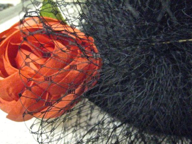 ecru russian netting, black cloche, and vintage red silk ribbon rose