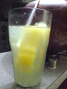 my reward: fizzy water + orange juice cubes = heaven on a hot day!