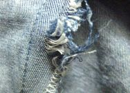 unprotected over-locked seam fraying (rayon denim)