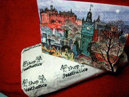lovely card of Edinburgh , and wrapped fabric