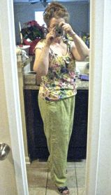 another fav: silk:rayon trouser & cotton top