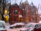 part of my neighbourhood & taken during a snow storm (see the snow flakes?)