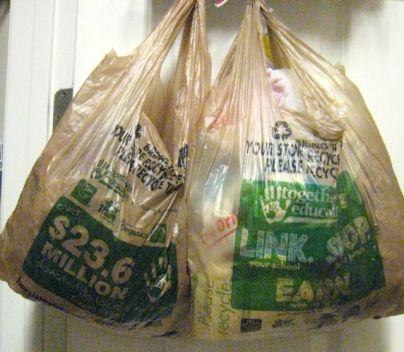 before: 2 ugly plastic sacks full of... plastic sacks.