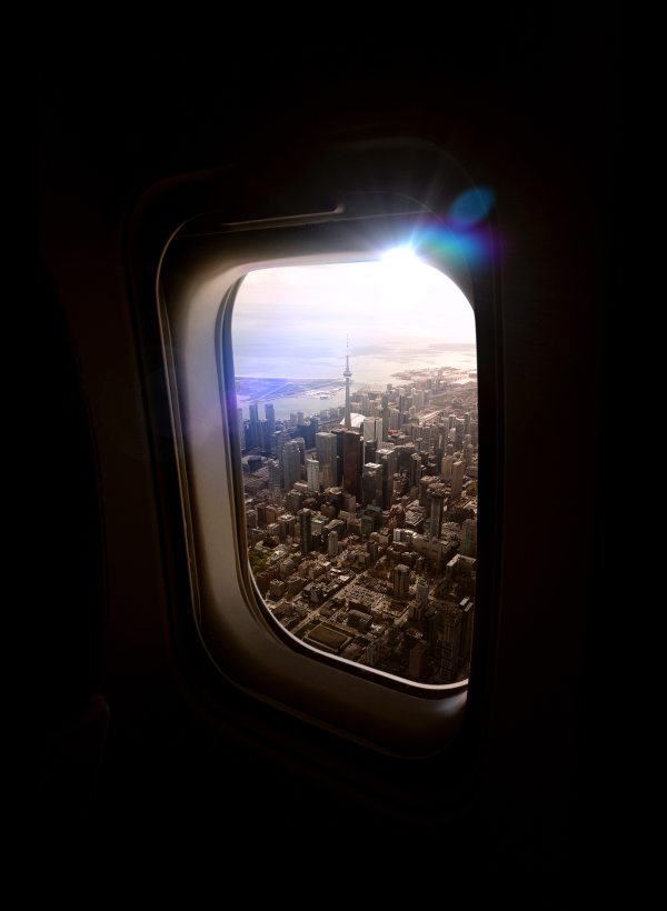 Cityscape view from airplane window