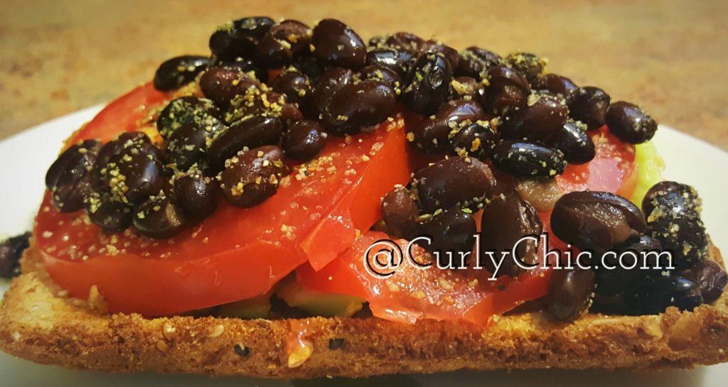 avocado black beans & tomato sammie