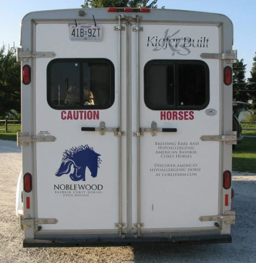 horse trailers with distinctive decals are less likely to be stolen