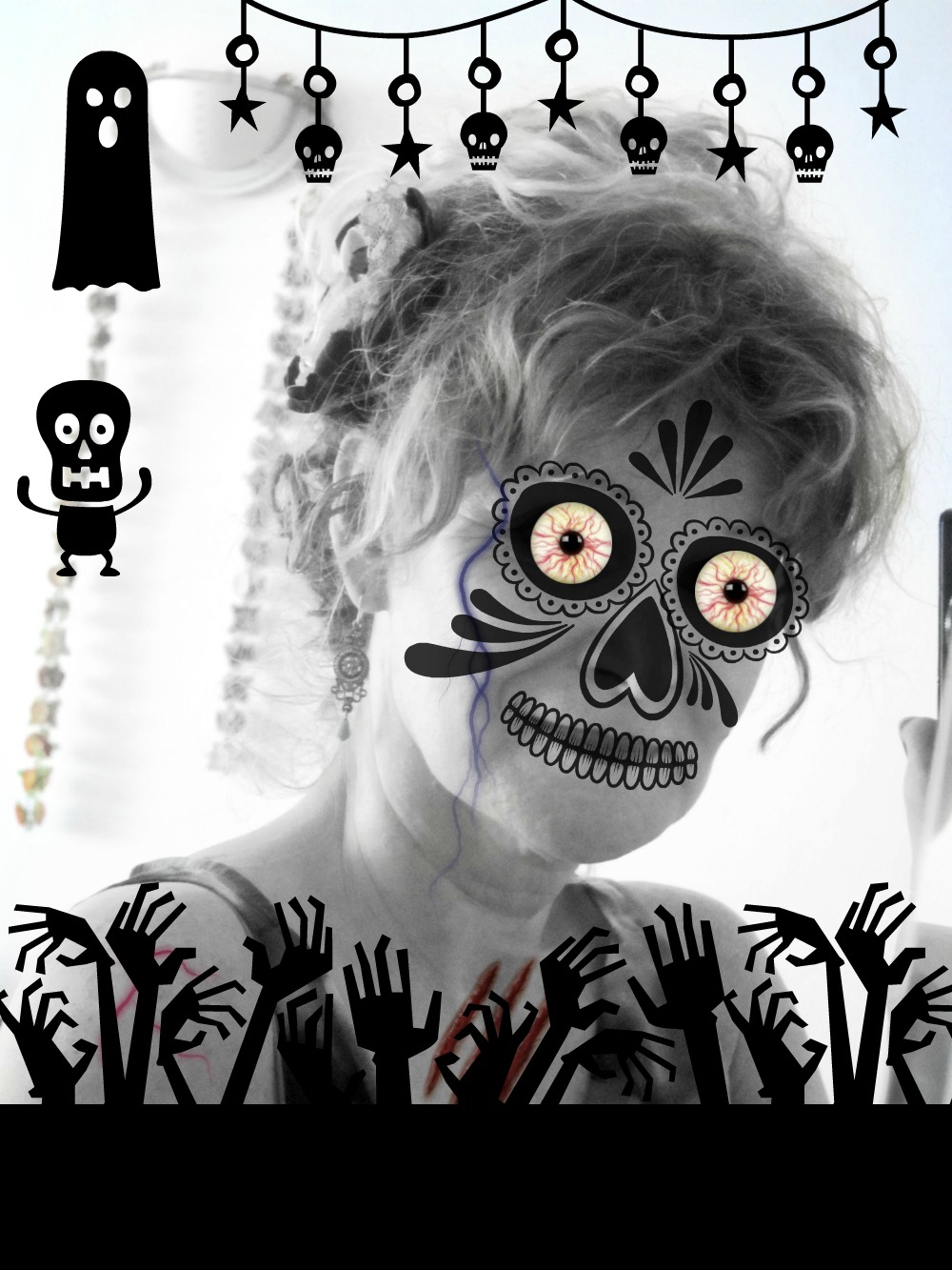 day of the dead face photo edit in picmonkey |curlytraveller.com