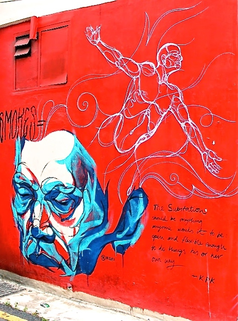 Red and blue mural Substation Singapore