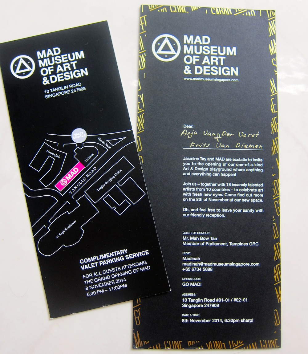 Playful black and gold invitation for MAD museum Singapore |curlytraveller.com