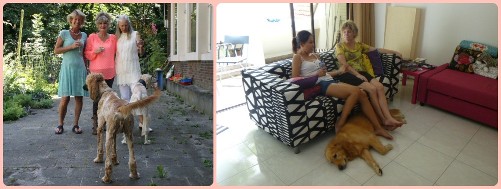 friends with dogs, left in Haarlem, right in Singapore  curlytraveller.com