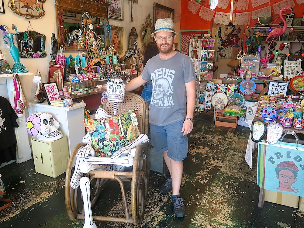 Shop owner Phill in his Holy Kitsch shop in Newtown |curlytraveller.com