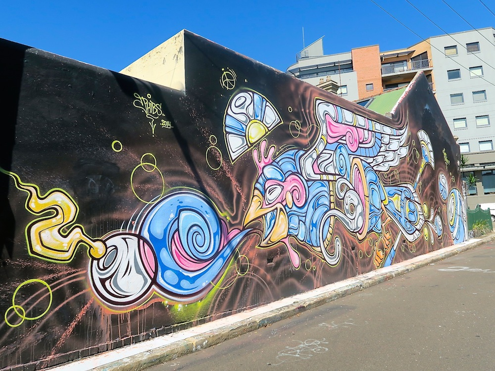 A very long and fun mural in St Peters, Sydney |curlytraveller.com