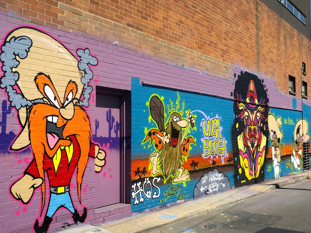 Cartoon-style street art in St Peters |curlytraveller.com