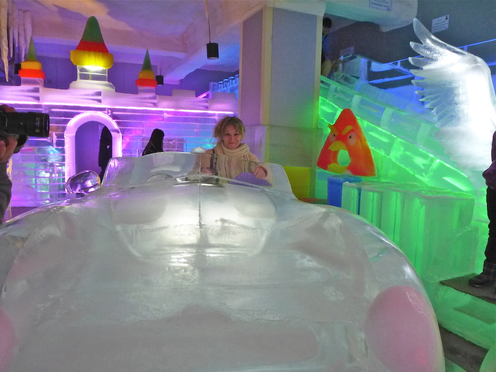Woman in ice car |curlytraveller.com