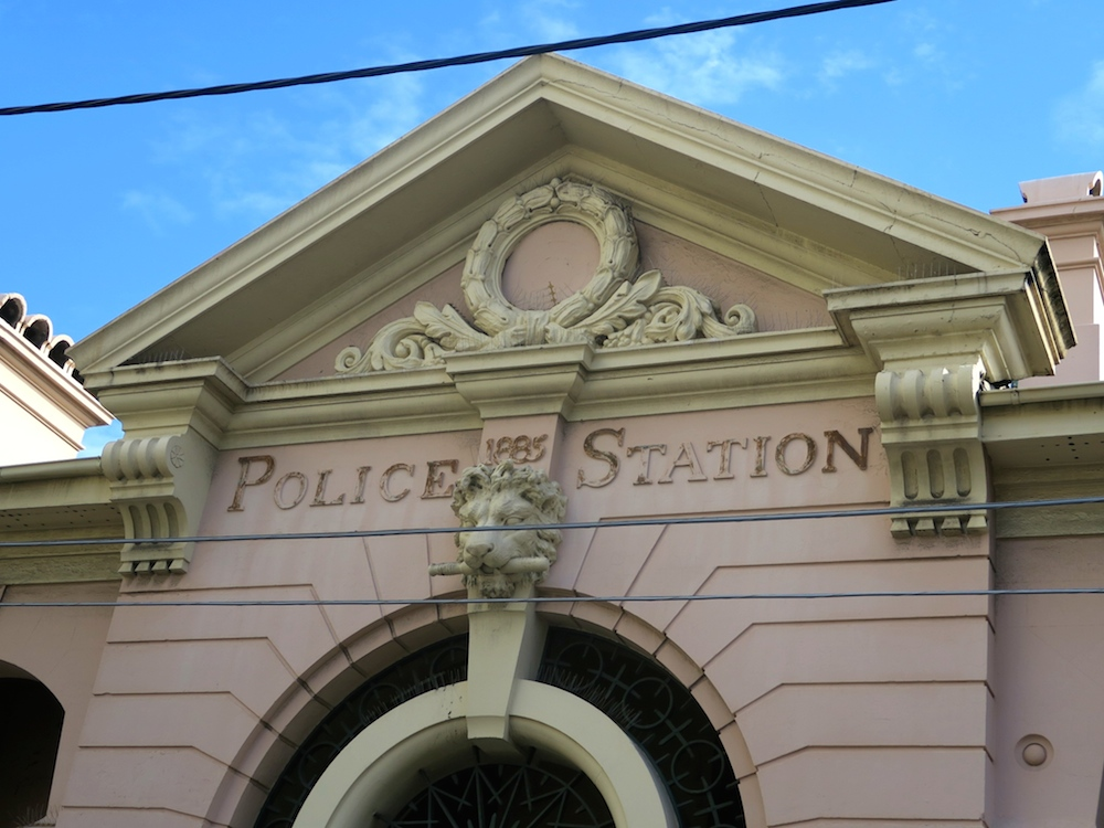 Classical facade of police station in Newtown  curlytraveller.com