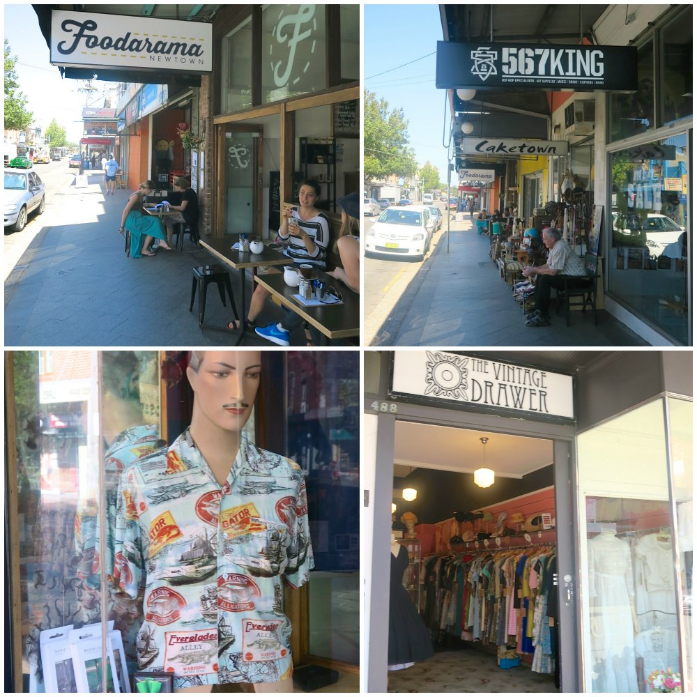 Shops and cafes on King Street Newtown  curlytraveller.com
