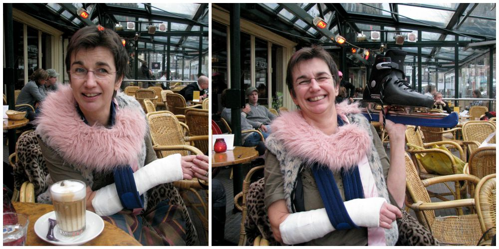 Woman with ice skates and broken wrist | curlytraveller.com