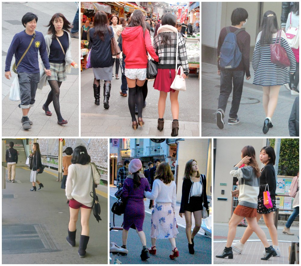 Girls in shorts and short skirts in Tokyo  curlytraveller.com