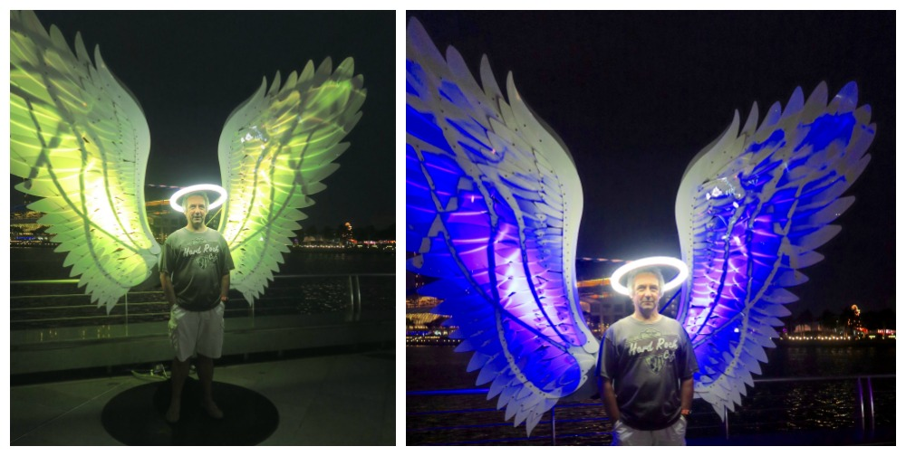 Selfies with Angel Wings at iLight Singapore 2016 |curlytraveller.com