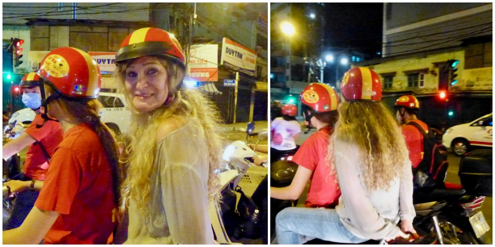 Two women on bike in Saigon |curlytraveller.com