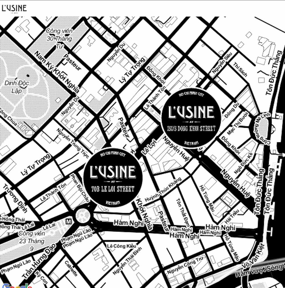 Locations of L'Usine le Loi on a map |curlytraveller.com
