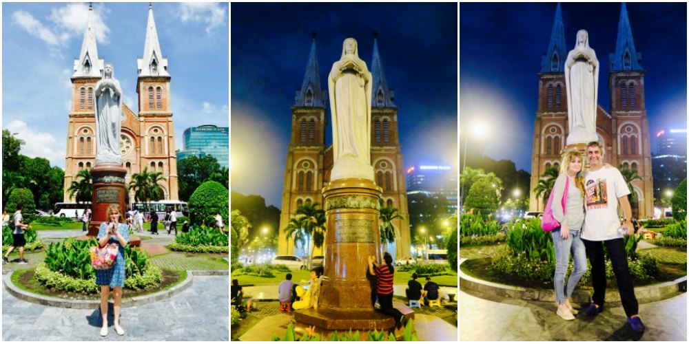 People praying to and posing for Maria at Notre Dame Saigon |curlytraveller.com