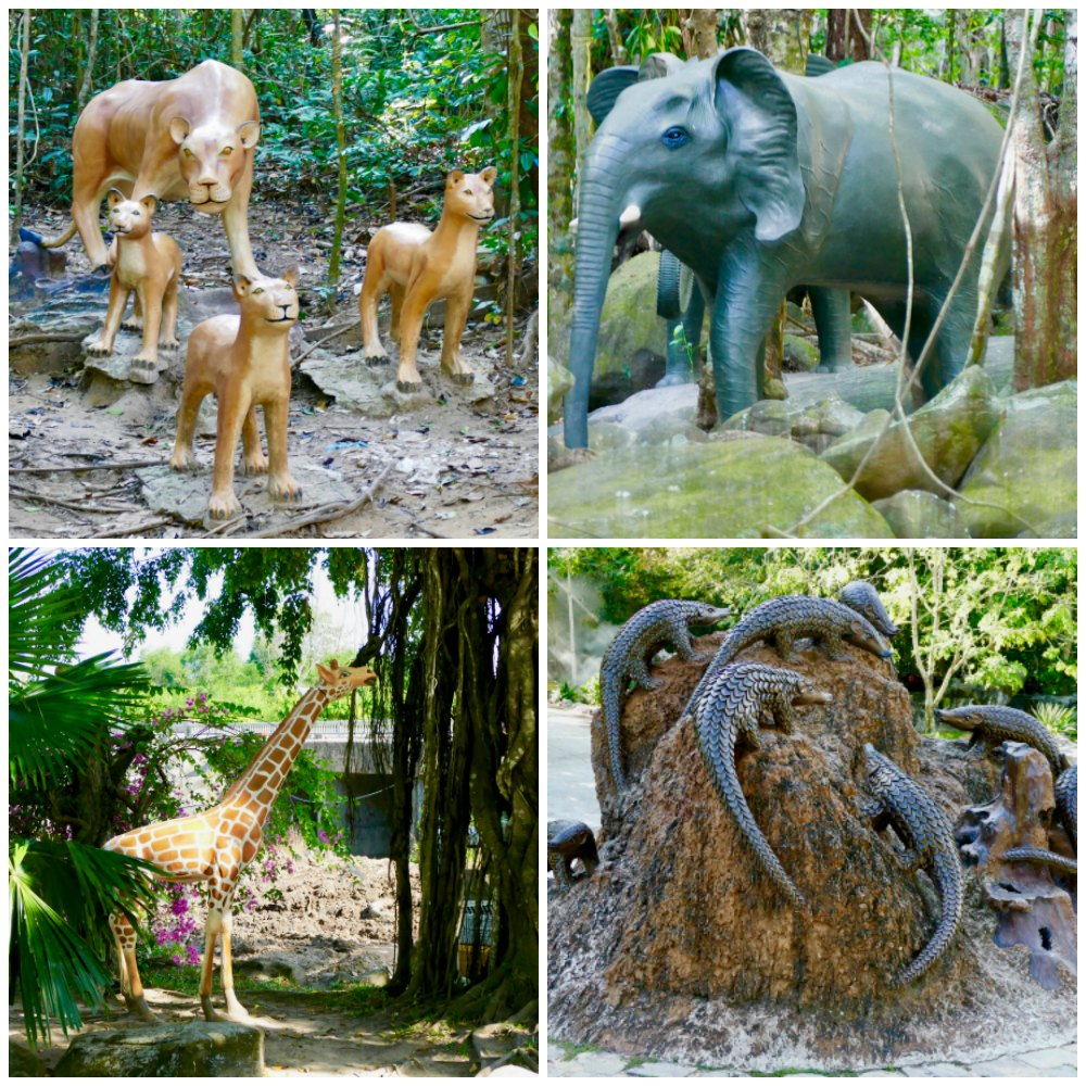 Animal sculptures in Suoi Tranh Waterfall Phu Quoc |curlytraveller.com