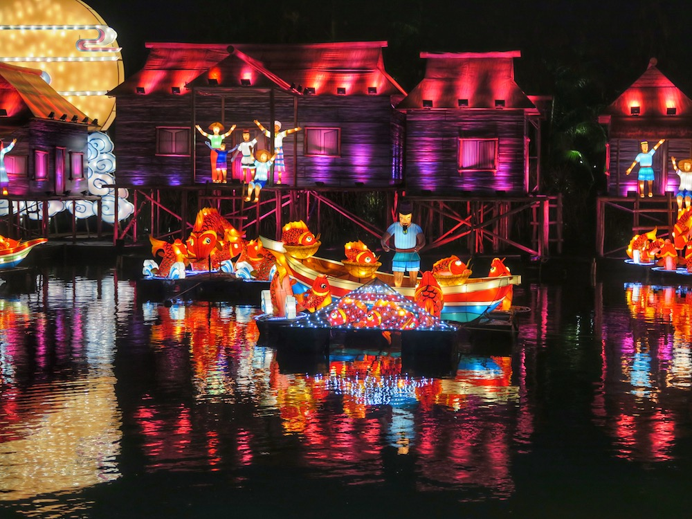 Fishing village in lanterns at Gardens by the Bay |curlytraveller.com