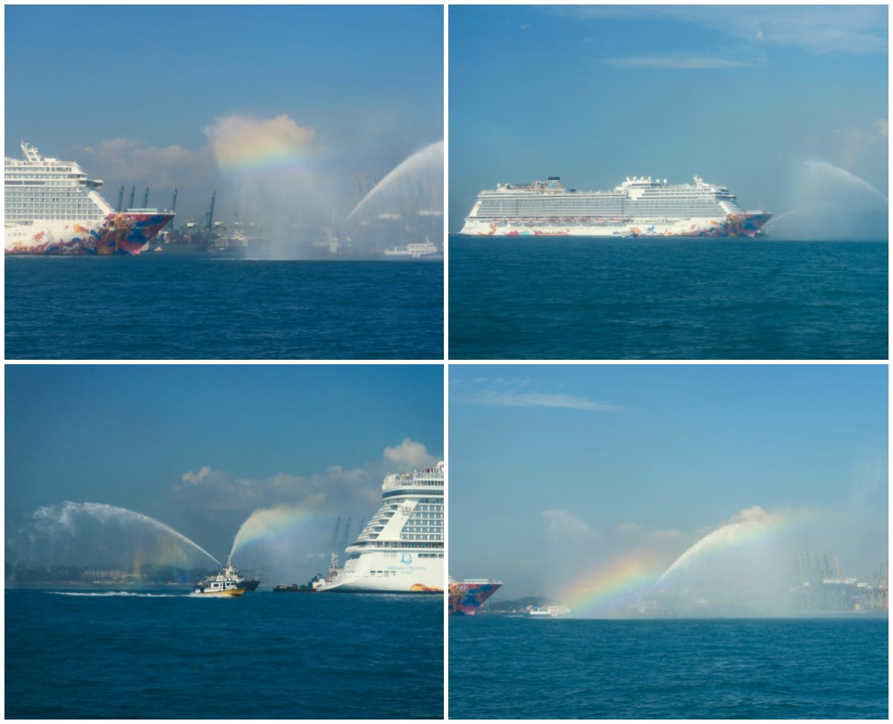 A water salute with rainbows |curlytraveller.com