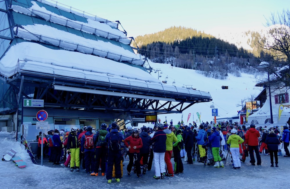 People queueing for cable car in St. Anton |curlytraveller.com