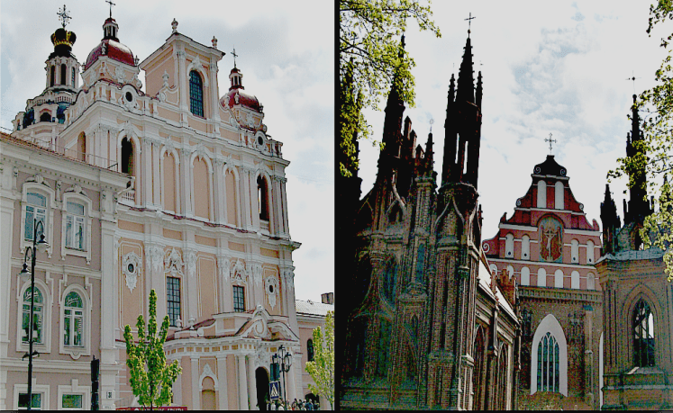 On the right the Church of St . Casimir, left the Church of St . Anna , in the depths of the Church of St . Francis