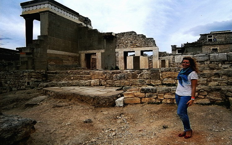 The ruins of the palace of Knossos near the courtyard